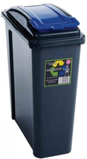 25 ltr Recycling Bin Graphite Body with Blue Lid
