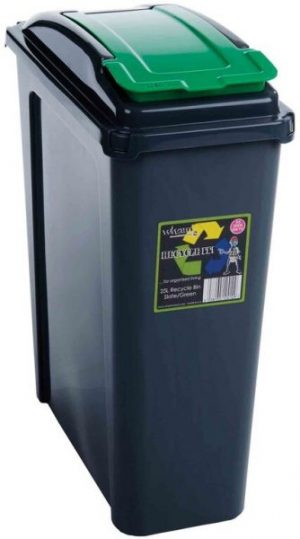 25 ltr Recycling Bin Graphite Body with Green Lid