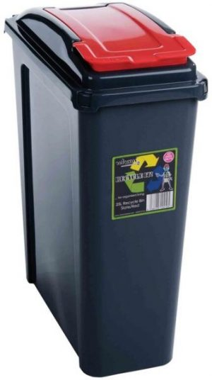 25 ltr Recycling Bin Graphite Body with Red Lid