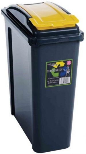 25 ltr Recycling Bin Graphite with Yellow Lid