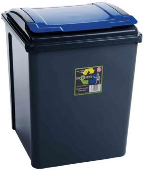 50 ltr Recycling Bin Graphite with Blue Lid