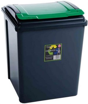 50 ltr Recycling Bin Graphite with Green Lid
