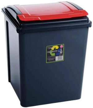 50 ltr Recycling Bin Graphite with Red Lid