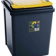 50 ltr Recycling Bin Graphite with Yellow Lid