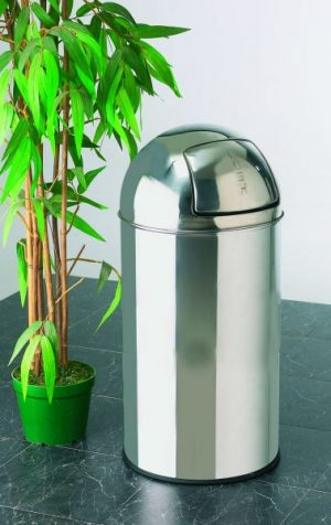40 ltr Bullet Push Bin in Bright Polished Inox Stainless Steel
