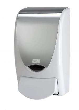 Chrome Effect Dispenser (white Deb logo)