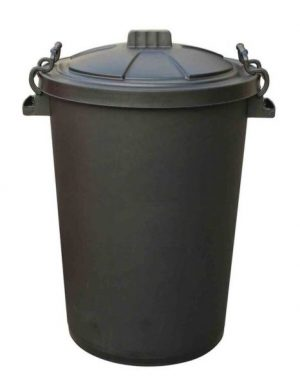 Black Robust Dustbin 80 litre complete with Clip On Lid