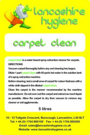 Carpet Clean – Carpet & Upholstery Cleaner Low Foam 5 ltr