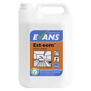 Evans Vanodine Est-eem Unperfumed Cleaner & Sanitiser EN1276 5 ltr