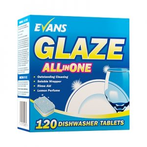Evans Vanodine Glaze All in One Machine Dish Wash Tablets 120