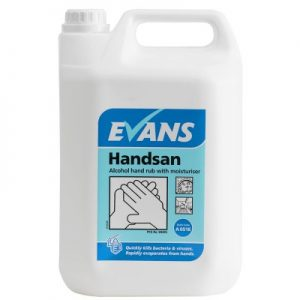 Evans Vanodine Handsan 70% Alcohol Hand Sanitiser with Moisturiser 5 ltr