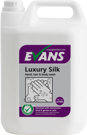 Evans Vanodine Luxury Silk Hand Hair & Body Wash 5 ltr