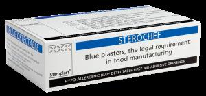 Sterochef Blue Detectable Plasters 4cm x 4cm x 50