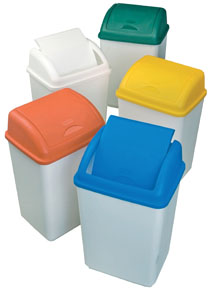 Swing Top Bin 50 Litre White Body / Yellow Lid