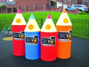 Micro Pencil Playground Litter Bin Owl Graphics Various Colours 42 litre