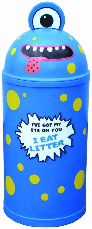 Monster Litter Bins Primary Education Playground Classroom Light Blue