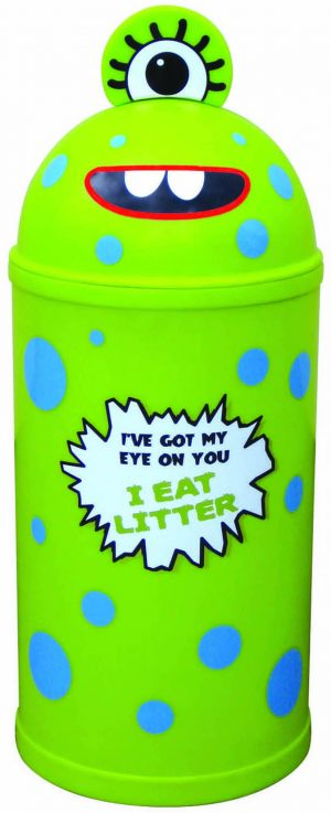 Monster Litter Bins Primary Education Playground Classroom Lime