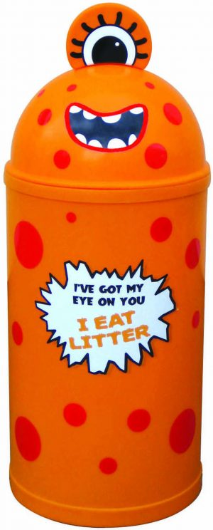 Monster Litter Bins Primary Education Playground Classroom Orange