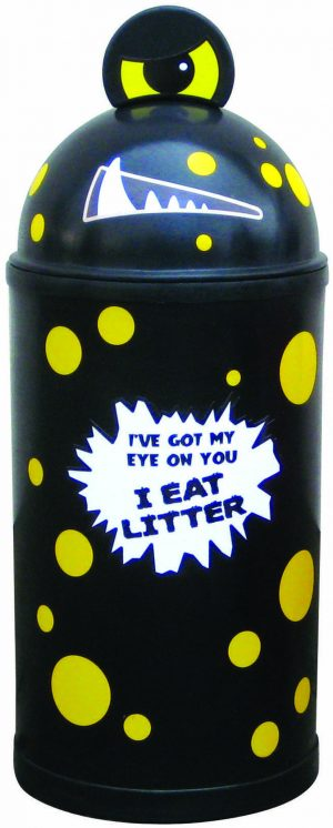 Monster Litter Bins Primary Education Playground Classroom Black