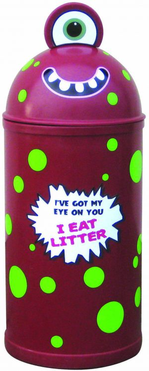 Monster Litter Bins Primary Education Playground Classroom Maroon