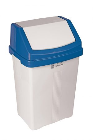 50 Litre Swing Top Bin White Body Blue/Red/Green/Yellow/White Lid